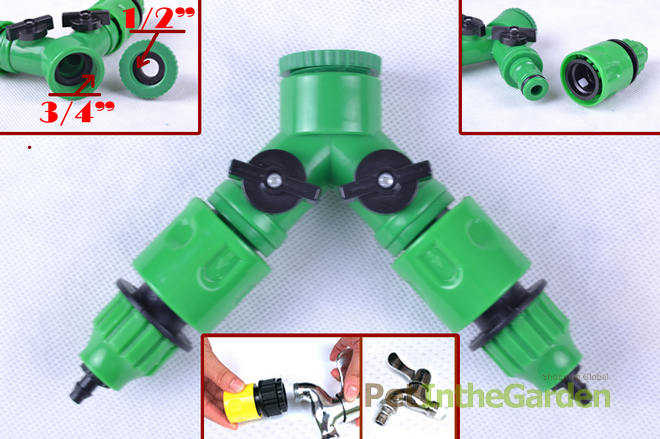 Garden Hose Pipe 1 2 Way Adapter Y Tap Connector Fitting Switch for Irrigation